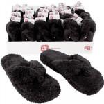 Ladies' Black Terry Cloth Flip Flops - Asst