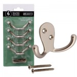 Liberty Double Prong Robe Hook 4pk - Matte Nickel