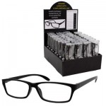 Black Reading Glasses with Clear Tube Case Display