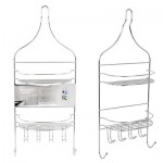 2-Tier Shower Caddy with 6 Hooks - 22.75