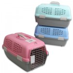 Plastic Pet Carrier with Metal Door - Asst  19