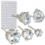 Earring Cubic Zirconia Refill Display - Assorted