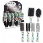Hair Brush with Circle Prints Display - Assorted