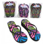 Ladies High Wedge Neon Flip Flops - Asst