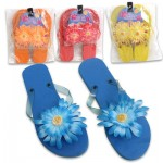 Ladies' Flip Flops with Flower Clip - Assorted
