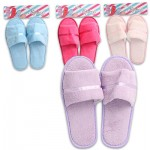 Ladies' Ribbon Terry Cloth Slippers - Medium  Asst