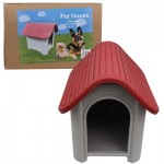 DOG HOUSE 75cmH GREY/RED