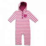 Rugged Bear Girls' Striped Hooded Coverall - Assor