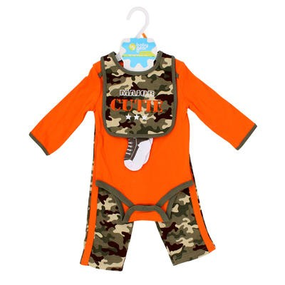 Baby Gear Boys' Body Suit w/Camo Bib 4pc Set -Asst