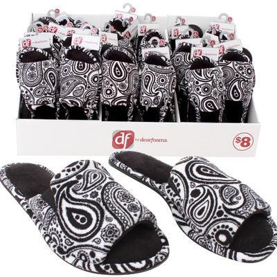 Dear Foams Ladies' Paisley Open-Toe Slippers -Asst