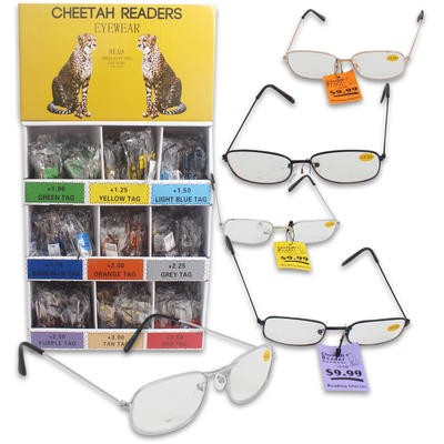 Cheetah Reading Glasses Display - Asst