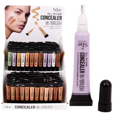 She All-in-One Concealer with Brush Display - Asst