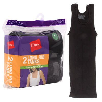 Hanes Women's Long Rib Tank 2-pack