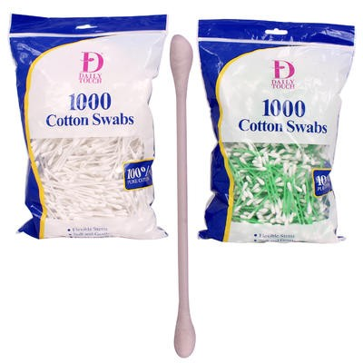 Daily Touch 1000ct Plastic Cotton Swab - Asst