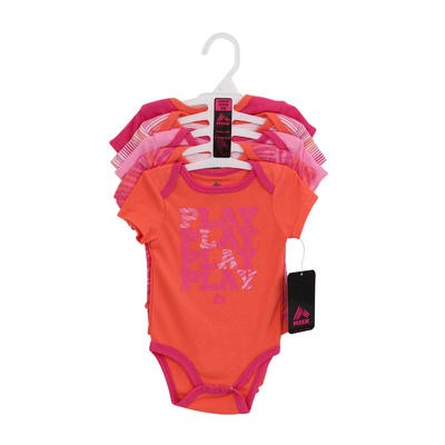 RBX Newborn Girls Play Coral Bodysuit 5-pack