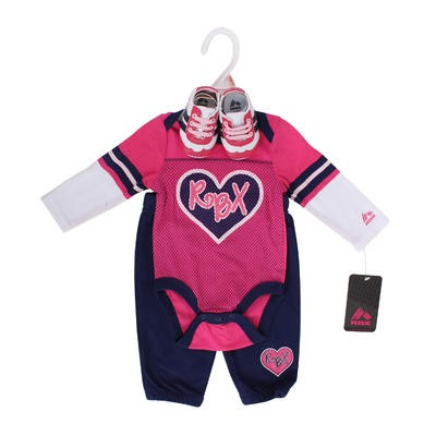 Newborn Girl's Fuchsia Heart Clothes Set w/Shoes