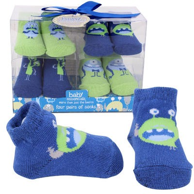 BOOTIES 4pk LIL MONSTERS BL/GR