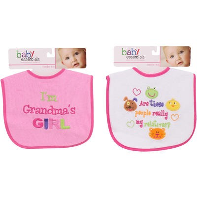 BABY BIB GIRLSwPRNT TERRY 2AST