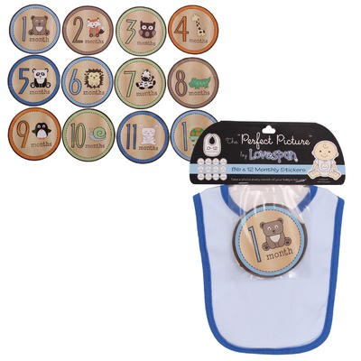 Blue Baby Bib with 12-Month Animal Sticker Set