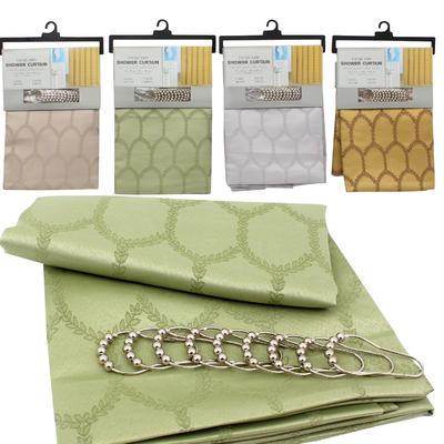 Jacquard Shower Curtain w/Roller Hooks - Asst  70