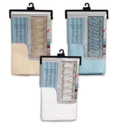 Shower Curtain with 12 Hook Set - Asst  71