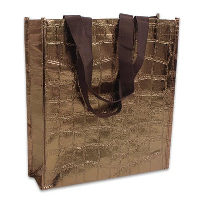 Square Shopping Bag with Handles - Bronze  12.5