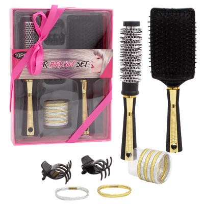 Black with Gold Hair Brush 10-piece Set