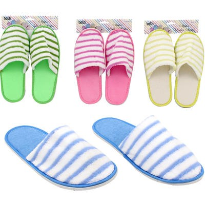 Ladies' Terrycloth Striped Slippers - Assorted