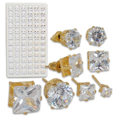 Yellow CZ Earring Refill on Display - Asst