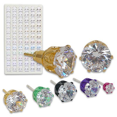 Color CZ Earring Refill on Display - Asst
