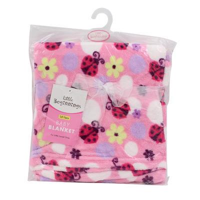 Little Beginnings Pink Blanket with Ladybug Print