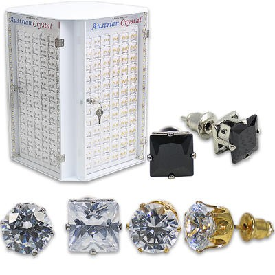 Austrian Crystal Earrings in Display Case - Asst