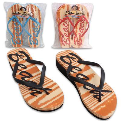 High Wedge Beach Flip Flops - Assorted