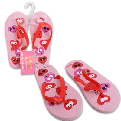 Girls' Pink Flip Flops with Hearts - Asst sizes