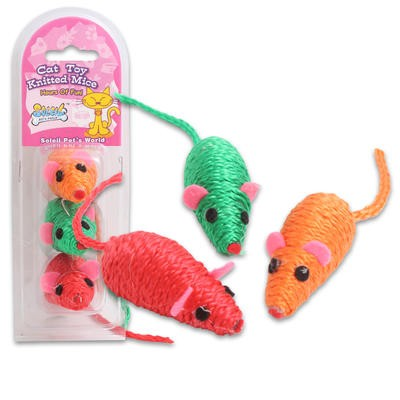 Soleil Pet's World Knitted Mouse Cat Toy 3pk - 3