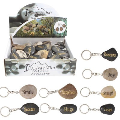 Stone with Inspirational Word Keychain - Asst