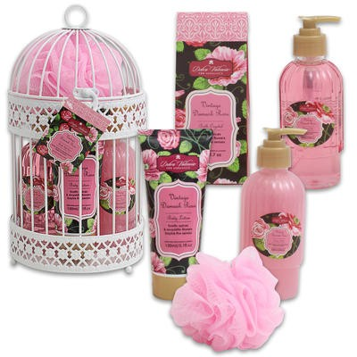 Vintage Damask Rose Bath Gift Set