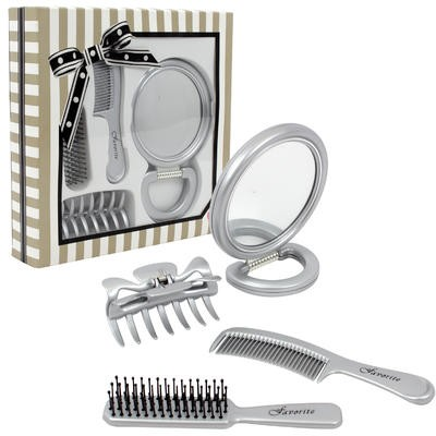 COMB&MIRROR SET 4pc SILVER