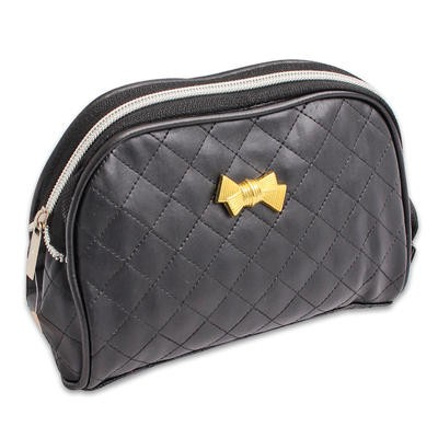 Black Cosmetic Bag with Gold Bow - 6.5