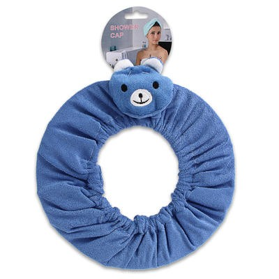 Blue Terrycloth Shower Cap with Bear Head - 10