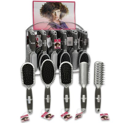 Hair Brush w/Rubber Grip in Display Box - Asst  9