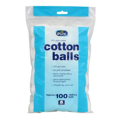 All Pure White Cotton Balls - 100pc