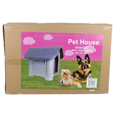 Gray Pet House with Blue Rooftop - 75cmH