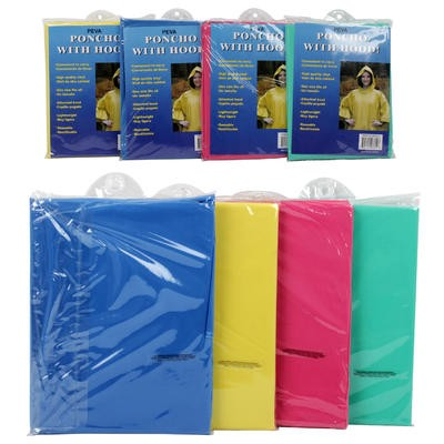 PEVA Adult Poncho with Hood - Asst  1 Size