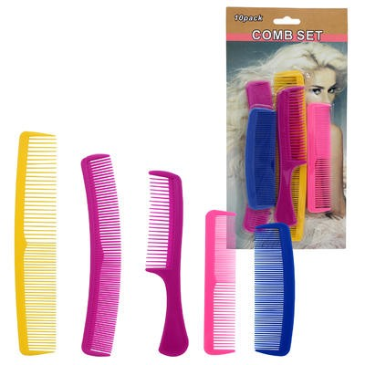 Assorted Plastic Comb 10-pack