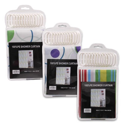 Plastic Shower Curtain w/12 Hook Set - Asst  71