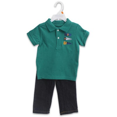 Boy's Izod Green Polo with Jean Set