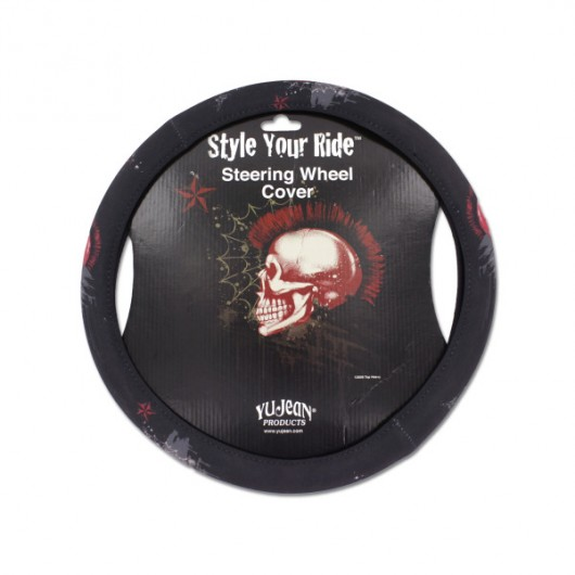 Mohawk skull steering wheel cover