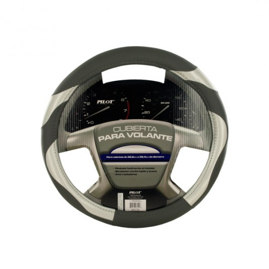 Black/Grey Vinyl Steering Wheel Cover