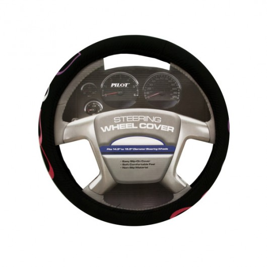 Black with Hearts Steering Wheel Cover